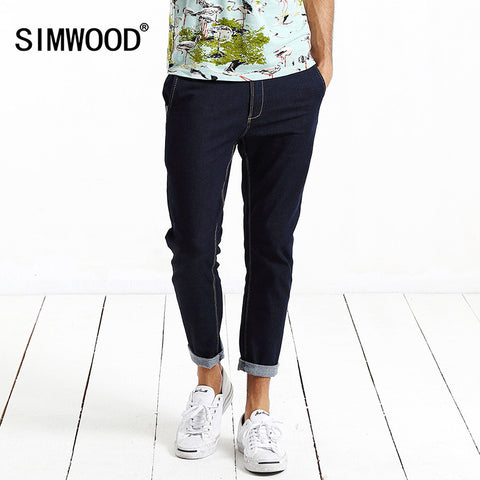 2016 New Arrival Simwood Brand Men Jeans Clothing Denim Ankle-Length Pants Slim Fit Trousers Plus Size Free Shipping SJ6014