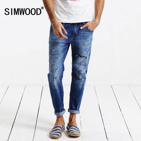 Jeans Men 2016 New Brand Clothing Fashion Solid Slim Fit  Plus Size Mid Straight Hole Denim Pants Free Shipping SJ6018
