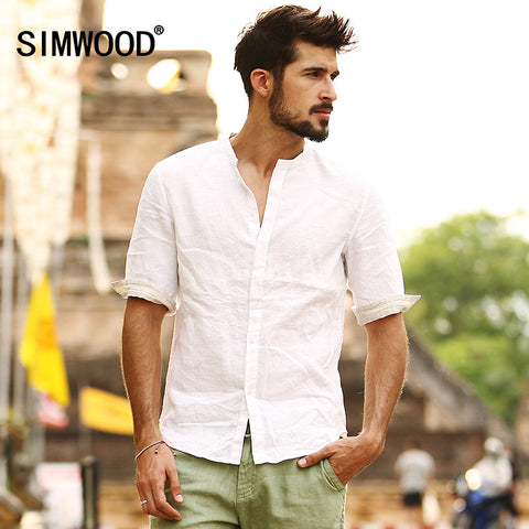 2016 New Arrival Simwood Brand Summer Men  Shirt Fashion Casual Slim Fit Solid Shirt Plus Size Free Shipping CS1535