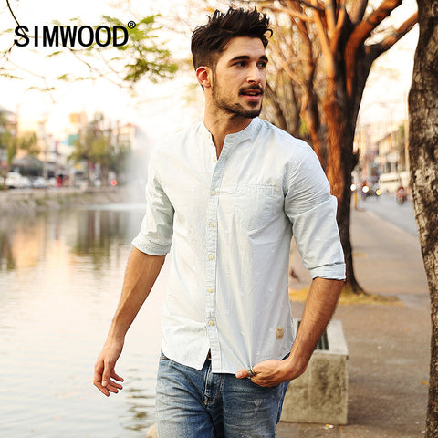 2016 New Arrival Simwood Men Shirt Three Quarter Casual Slim Fit Striped Shirts Plus Size Free Shipping CS1528