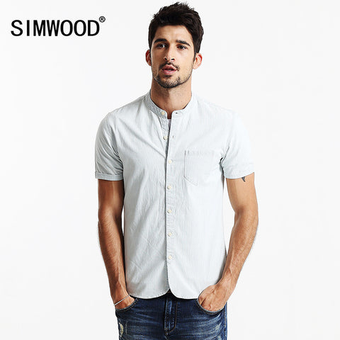 2016 SIMWOOD Summer Men Casual Shirts Short sleeved Denim Shirt Fashion Slim Cotton Striped Shirts Camisa Masculina CS1541
