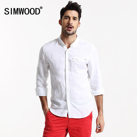 2016 New Men Shirt Clothing Brand Simwood Long sleeved Solid Casual Slim Fit Shirts Plus Size Free Shipping CS1525