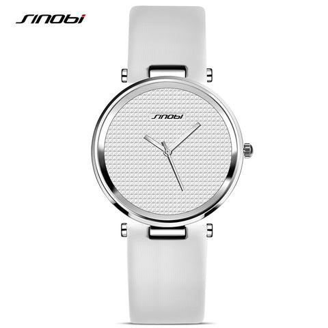 Box Free SINOBI Fashion Women's Watches For Luxury Brand Ladies Simple Leather Wristwatch Rose Gold Female Clock Femmes Horloge