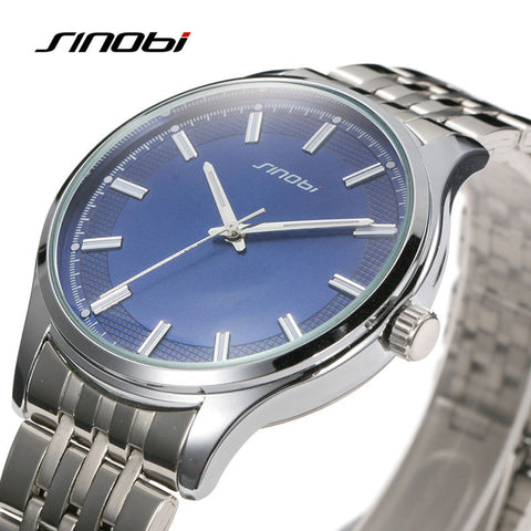 2016 Relogio Masculino SINOBI Luxury Brand Full Stainless Steel Analog Display Date Men's Quartz Watch Business Watch Men Watch