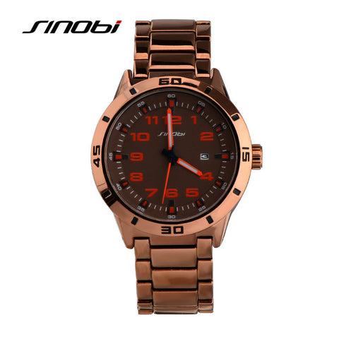 2016 SINOBI Luxury Brand Mens Sport Military Wristwatch Waterproof Mans Casual Steel Quartz Watches Male Clock Relogio Masculino