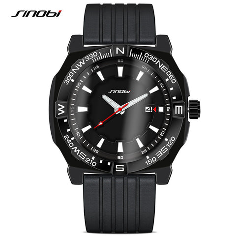 50M Waterproof SINOBI Geneva Sport Watches Silicone Strap Men's Casual Military Quartz Wristwatches Relogio Masculino 2016 Clock