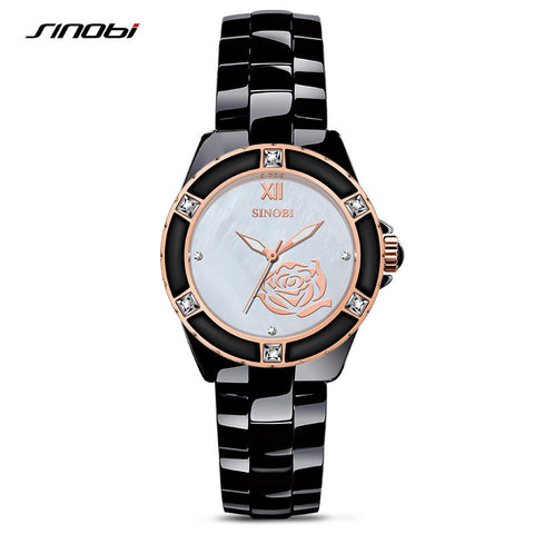 2016 Luxury Brand SINOBI Ladies Vintage Gold Quartz Wristwatches Woman Ceramics Fashion Bracelet Watch Gift Relogio Feminino