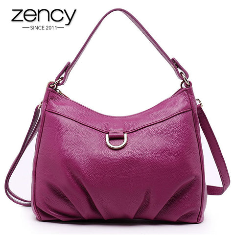 2016 New Designer Fashion Women Genuine Leather Handbags Ruched Shoulder Bags Ladies Tote Crossbody Bags Capacity Hobo Bag Bolsa