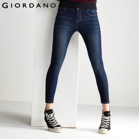 Giordano Women Jeans Stretchy Denim Pants Skinny Jean Trousers Mujer Brand Famous Clothing Ladies Pants Femininas Vetemen