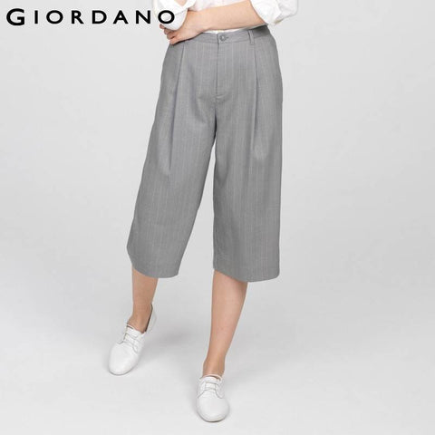 Giordano Women Pants Capris Wide Leg Pant Checked Trouser Casual Soft Cotton Culottes Trousers For Woman Vetement Femme