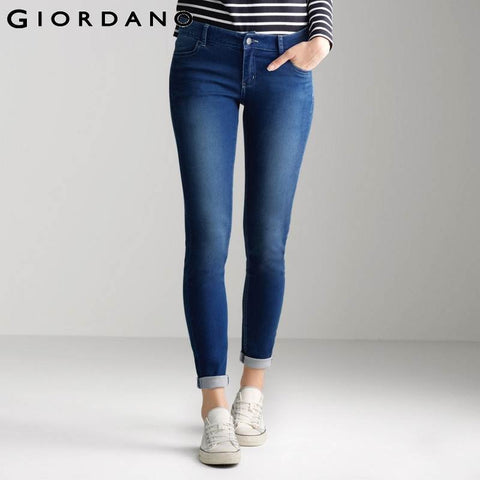 Giordano Women Jeans Slim Fit Denim Pants Indigo Femininas Clothing Jean Casual Mujer Stretchy Jeans Woman Vetements
