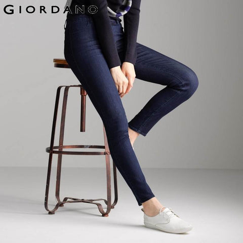 Giordano Women Jeans Solid Slim Fit Jean Pants Stretchy Trousers Femme Denim Clothing Ladies Casual Apparel Vetement