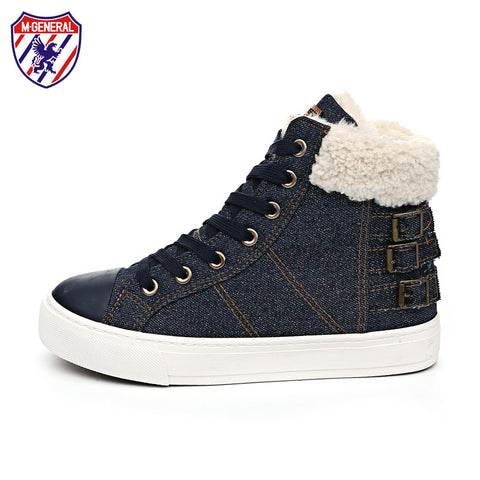 M.GENERAL Women Fashion Casual Shoes Ankle Boots Winter Solid Denim Plush Snowshoe Walking Zapatos Mujer Scarpe Donna M6905