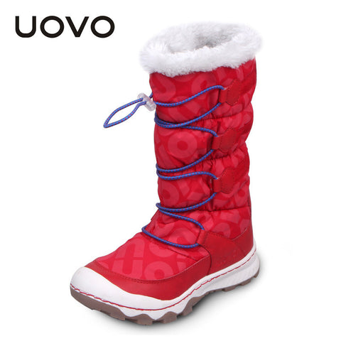 Uovo children's snow boots girls fashion warm winter waterproof boots children shoes little and big girls brand boots red purple