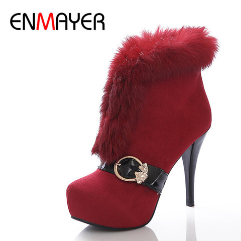 ENMAYER Fashion Winter Women Ankle Boots Flock Round Toe Boots Thin Heels Short Plush Red Color Boots Women Boots High Pumps