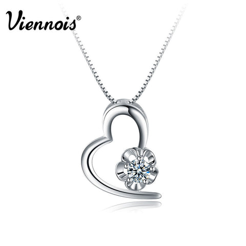 2015 fashion new Viennois S925 Silver CZ Heart Pendant Necklace for Floating Locket necklace jewelry Valentine's Day Gift