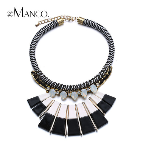 //Black and white resin necklace// crystal rope necklace chokers new 2015 autumn style handmade necklaces for women eManco