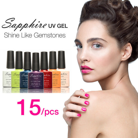 15Pcs Sapphire Nail Gel Newest 159 Fashion UV Gel Polish 7.3 ML Soak Off Nail Led Gel Polish
