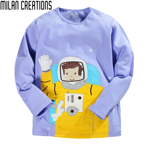 Boys Clothes Kids T-shirt 2016 Brand Boys T shirt Long Sleeve Astronaut Print Baby Boys Tops Children T shirts Designer