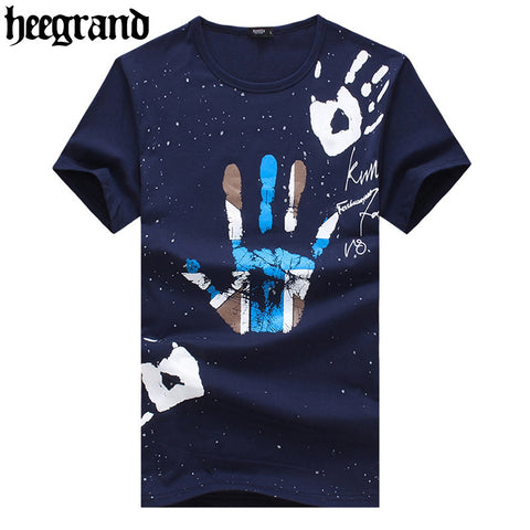 2016 Men New High Quality Palm Print Tops Tees Fashion Plus Size Short Sleeve Men T-shirt MTS1521