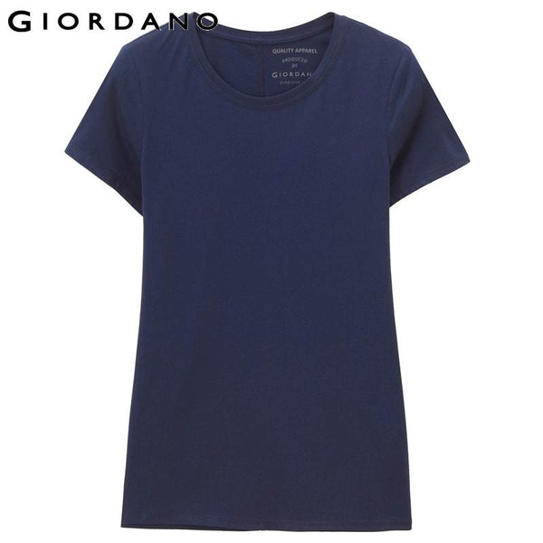 Giordano Women Tee Cotton Short Sleeves Rib T-shirts Womens Jersey Clothing Stripes Tops Haut Femme Blusas Summer Casual
