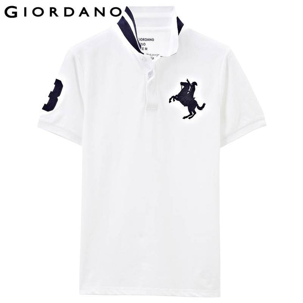 Giordano Men Polo Shirt Short Sleeves Solid Pique Embroidered Polos Shirts Horse Hombre Vetement Brand Clothes for Man