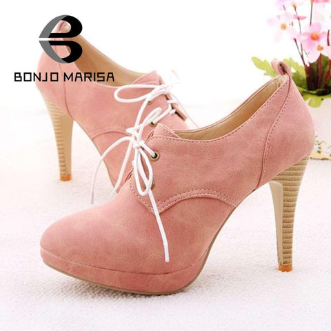 2013 NEW ! Fashion Sweety lace up Women high heel shoes for Lady  HH278 high heels & Beige,Pink,Black,Blue Pumps