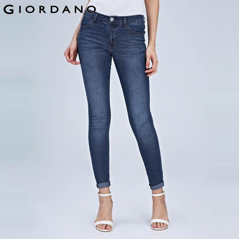 Giordano Women Jeans Slim Fit Denim Pants Pockets Trousers Fashion Femme Pantalones Calca Donna Casual Stretch Jeans
