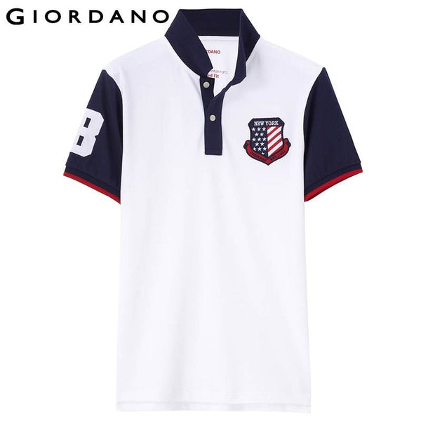 Giordano Men Polo Short Sleeves Lycra Embroidered Soft Cotton Polos Mens Famous Brand Casual Clothing Hombre Camisas