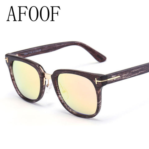 AFOOF 2016 Fashion Sunglasses Brand Designer Unisex Wood Grain Sun glasses Women Men Vintage Coating Mirror Lens Eyewear UV400