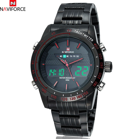 Brand Naviforce Chrono Stopwatch Men Full Steel Analog LED Digital Watch Men Quartz Military Watch Sports Wristwatch