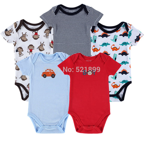 5 pcs / lot Luvable Friends 0-3,3-6,6-9,9-12 months Short Sleeve Newborn Baby Romper Summer,Baby Girl Romper