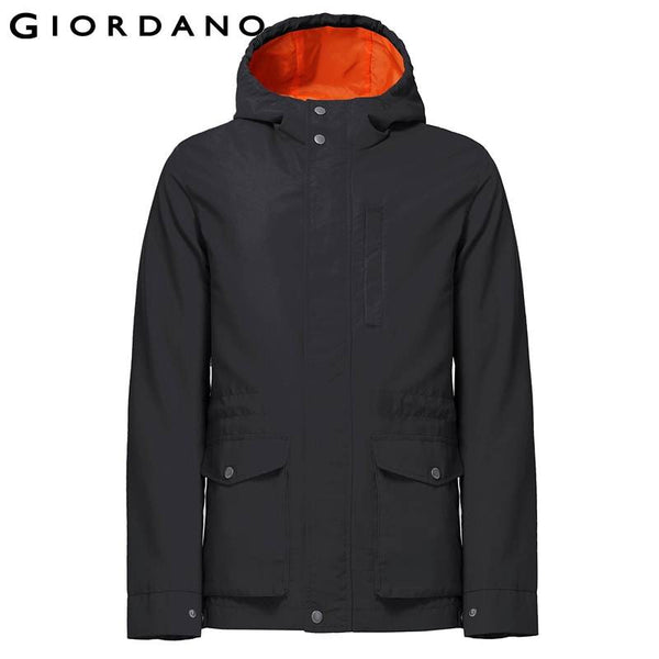 Giordano Men Hood Windbreaker Mens Solid Outdoor Jackets Softshell Windproof Outerwear Jacket Men Famous Brand Clothing