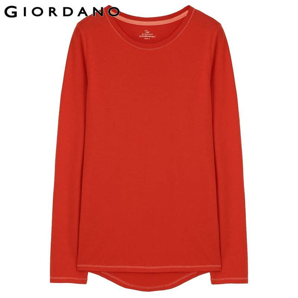 Giordano Women Brand Fashion Casual Long Sleeve T Shirt Tshirt T-Shirt Tee Blusas Femininas Woman Tops Clothing White Pink