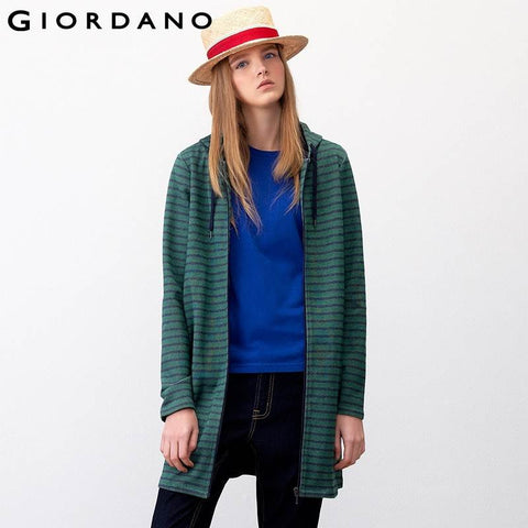 Giordano Women Brand Full Female Mid-Long Sweatshirt Hooded Women Famous Brand Casual Tops Outerwear Chandal Mujer Marca