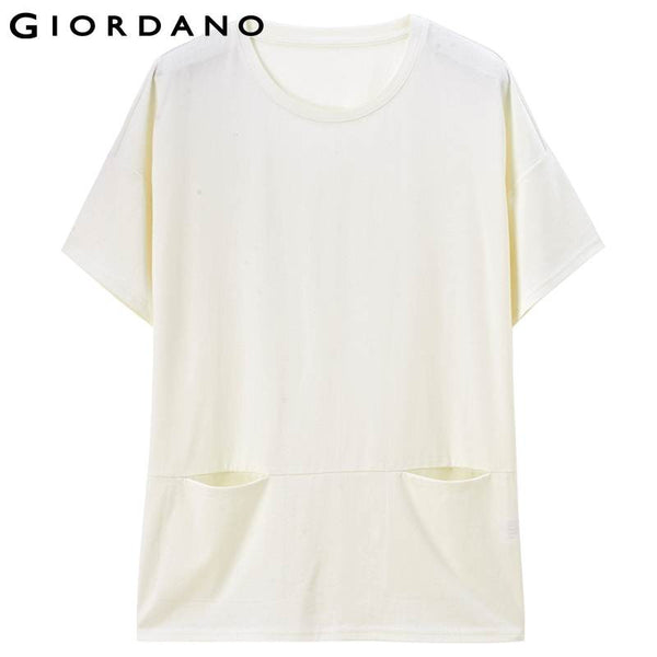 Giordano Women Tee Short Sleeves O-neck Breathable Cotton Wear Fitness Woman Clothes Camisetas Plus Size Feminino Roupas