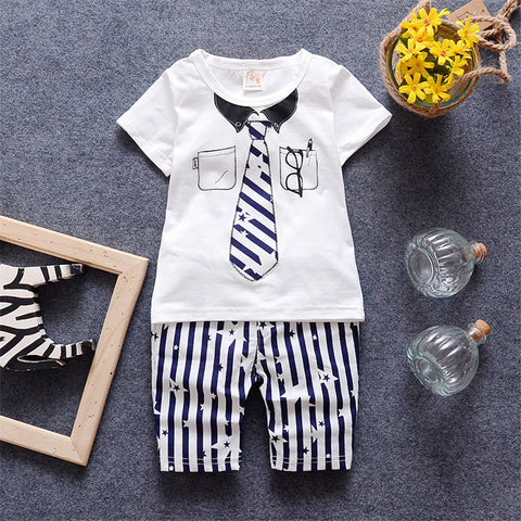 Boys Summer Sets Toddler T shirt + Pant Set Baby Clothing 2016 Brand Fashion Necktie Printed Kids Clothes Casual Sets