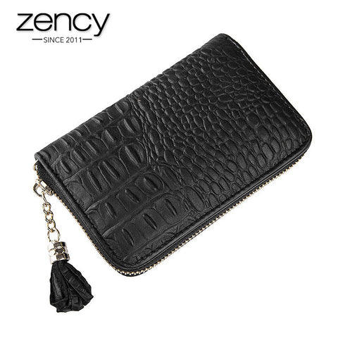 2016 New 4 Card Slots Free Shipping Alligator Genuine Leather Crocodile Pattern Women Wallet Cutch Coins ID Holder Bags Black