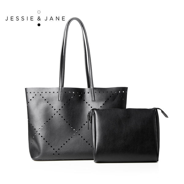 JESSIE&JANE Designer Brand 2016 New Sabah Series Hollow Out Bag Stylish Women PU Leather Tote 1224
