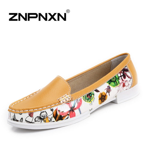 2014 Autumn Genuine Leather women's flats shoes Bowtie womens slip on shoes women casual driving shoes Print woman loafers