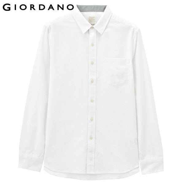 Giordano Men Oxford Shirt Long Sleeves Button Collar Shirts Striped Camisa Social Masculina Slim Fit Heren Kleding Camicia
