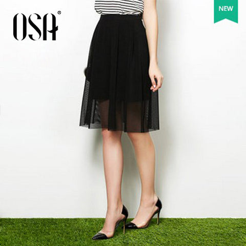OSA 2015 New Arrivals Summer Knee-Length Skirts Womens Casual Hollow Out Patchwork A-line Skirt Black Saias Femininas SQ515018