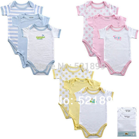3pcs/lot Luvable Friends Baby 100%Cotton Baby Clothing Baby Bodysuits Summer for Newborn,0-3,3-6,6-9,9-12months Free Shipping
