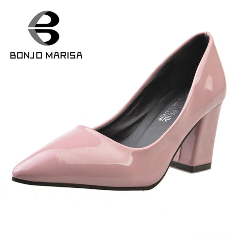 2016 European Style square med heels pointed toe women OL dress pumps sexy fashion slip on solid candy colors lady dating shoes