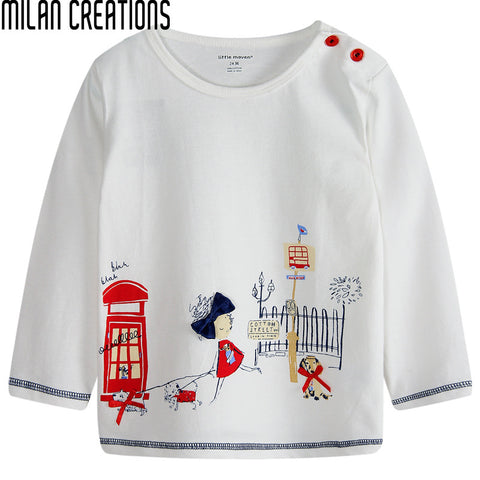 Kids Clothes Girls T Shirt 2016 Spring Fashion Children T shirts for Girls Clothes Character Pattern Cotton Baby Girls Tops 1-6