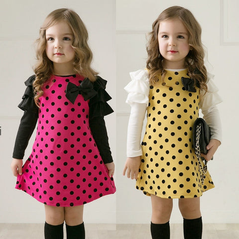 2013 new arrival spring children clothing girls dress with bow design Kids princess dress girl's dress