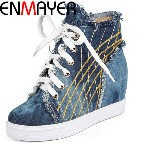 ENMAYER  Factory Direct Sales Spring Fashion Wedge Sneakers, Cowboy Height Increasing 4cm, Women's Shoes new 2015 Shoes women