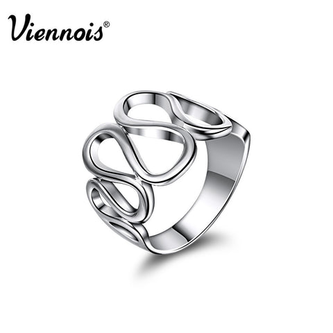 Viennois Fashion Jewelry Platinum Plated Finger Rings for Woman New Party Gift White Gold Size Rings