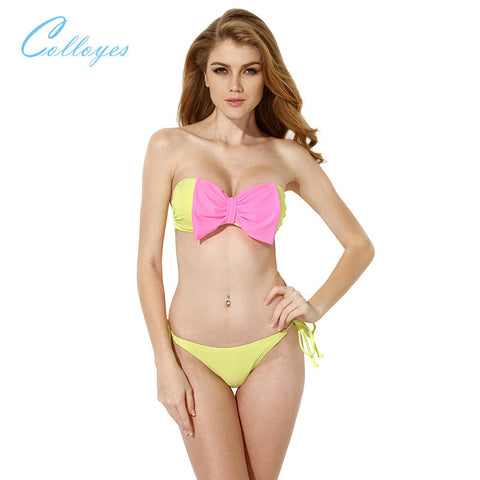 Colloyes Sexy Greenish Yellow Bandeau Top Bikini Swimwear with A Playful Bow at the Center Front Beach Bathing Suit