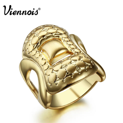 2015 Viennois Newest Fashion Jewelry 7/8 Size Square Luxury Brand Gold Zinc Alloy Round Wedding Rings for Women Trendy Party